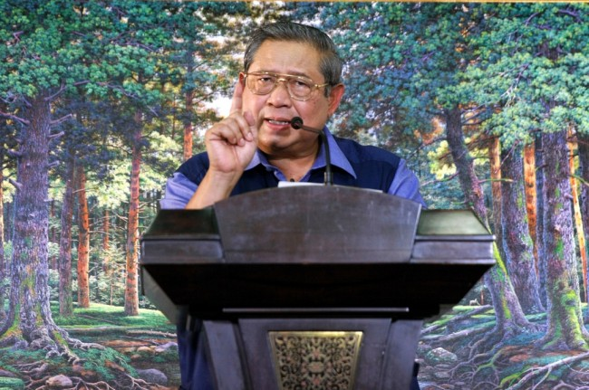 Democratic Party chair Susilo Bambang Yudhoyono (Photo: MI/Bary Fathahilah)