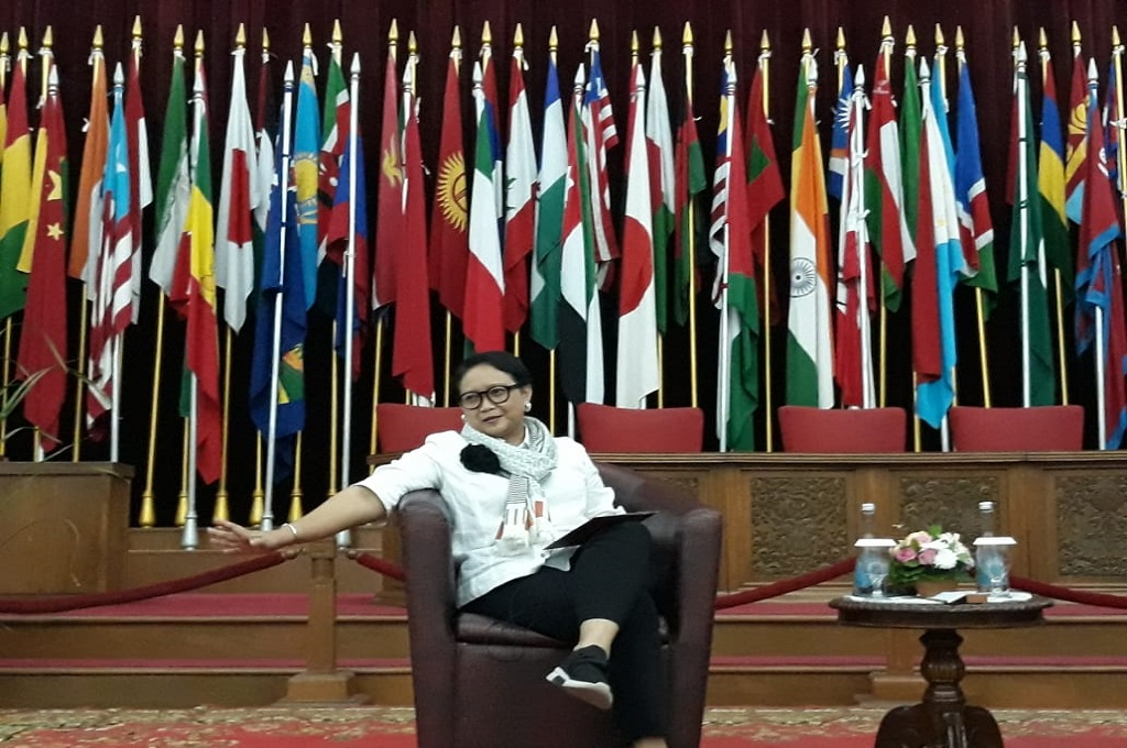 Menteri Luar Negeri Retno Marsudi di Museum Konferensi Asia Afrika, Bandung, 14 Juli 2018. (Foto: Marcheilla Ariesta)