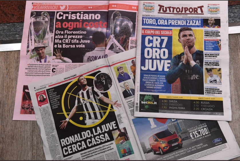 Berita perekrutan Ronaldo ke Juventus yang sempat menghiasi headline media massa Italia (Foto: Twitter)