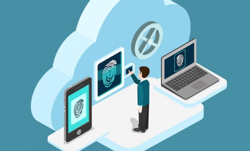 Ilustrasi kontrol akses layanan teknologi cloud.