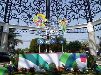 Tugu Makuto sebagai titik penyambutan pawai obor Asian Games