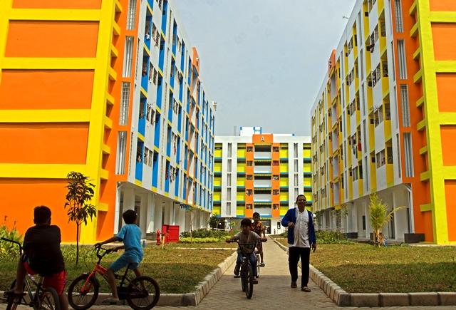 Rumah susun Rawa Bebek, Jakarta Barat, diperuntukkan bagi warga relokasi. Proyek ini tidak termasuk dalam program Rumah DP 0 Rupiah. Antara Foto/Galih
