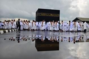 Jemaah calon haji mengikuti kegiatan manasik di Islamic Center