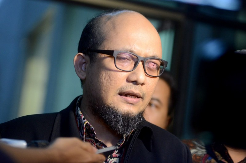 Ketua Wadah Pegawai KPK Novel Baswedan di lobi Gedung KPK, Rasuna Said, Jakarta. Foto: MI/Susanto.