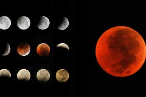 Antusias Warga Saksikan Gerhana Bulan Total
