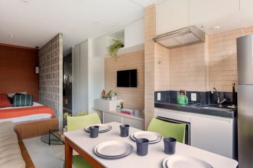 Penataan interior yang menarik untuk apartemen tipe studio ini