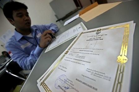 Seorang petugas haji menyiapkan sertifikat badal haji di Daker
