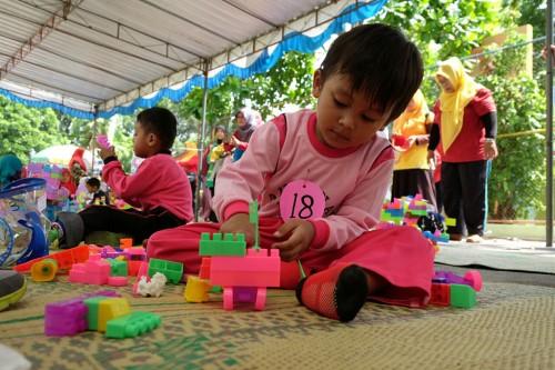 Anak-anak peserta lomba aneka permainan di Gebyar PAUD,