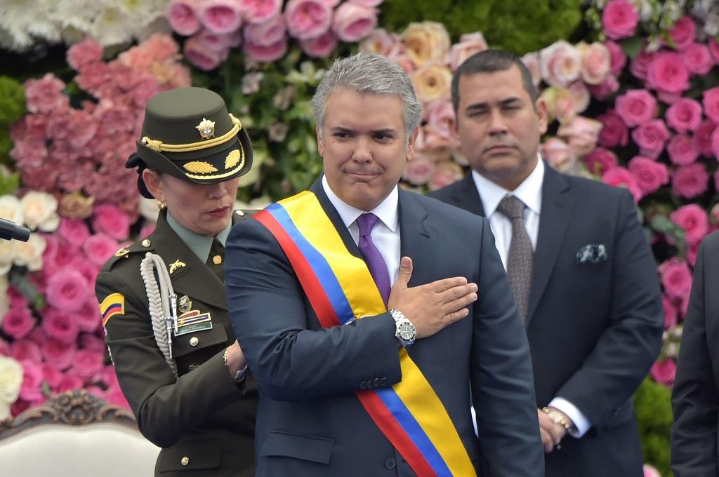 Ivan Duque dilantik menjadi Presiden Kolombia di Bogota, 7 Agustus 2018. (Foto: AFP/RAUL ARBOLEDA)