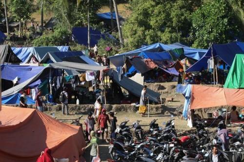 Pengungsian warga korban gempa di Pemenang Barat, Lombok Utara.