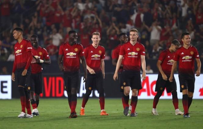 Para pemain Manchester United saat melakoni laga pramusim di Amerika Serikat (Foto: AFP/Victor Decolongon)