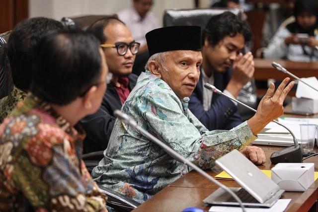 Ketua Dewan Kehormatan Partai Amanat Nasional (PAN) Amien Rais. Foto: Antara/Dhemas Reviyanto