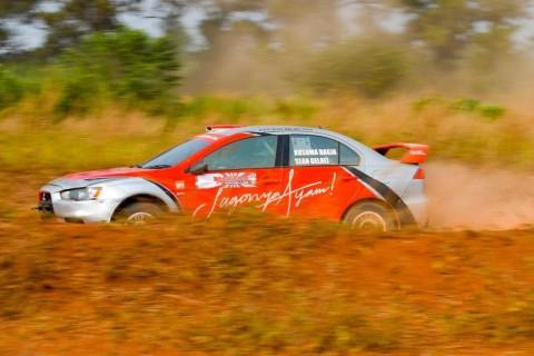 Aksi Sean Gelael saat menjajal lintasan Merdeka Sprint Rally