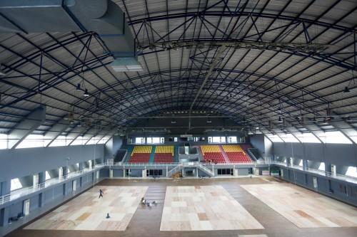 Arena sepak takraw di Asian Games. (Foto; ANTARA FOTO/Nova