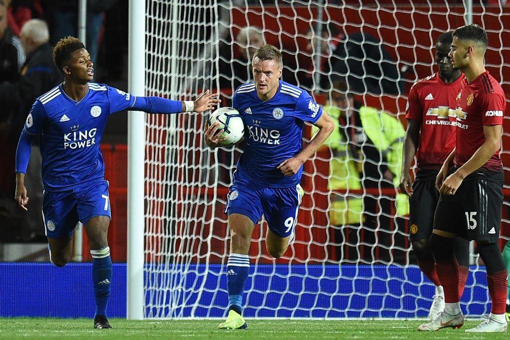 Jamie Vardy berhasil mencetak gol ke gawang Manchester United. (Foto; Oli SCARFF / AFP)