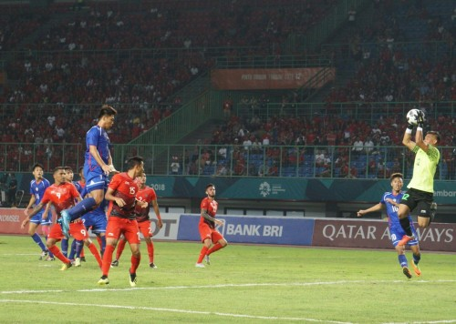 Situasi pertandingan Timnas Indonesia vs Chinese Taiper. (Foto: