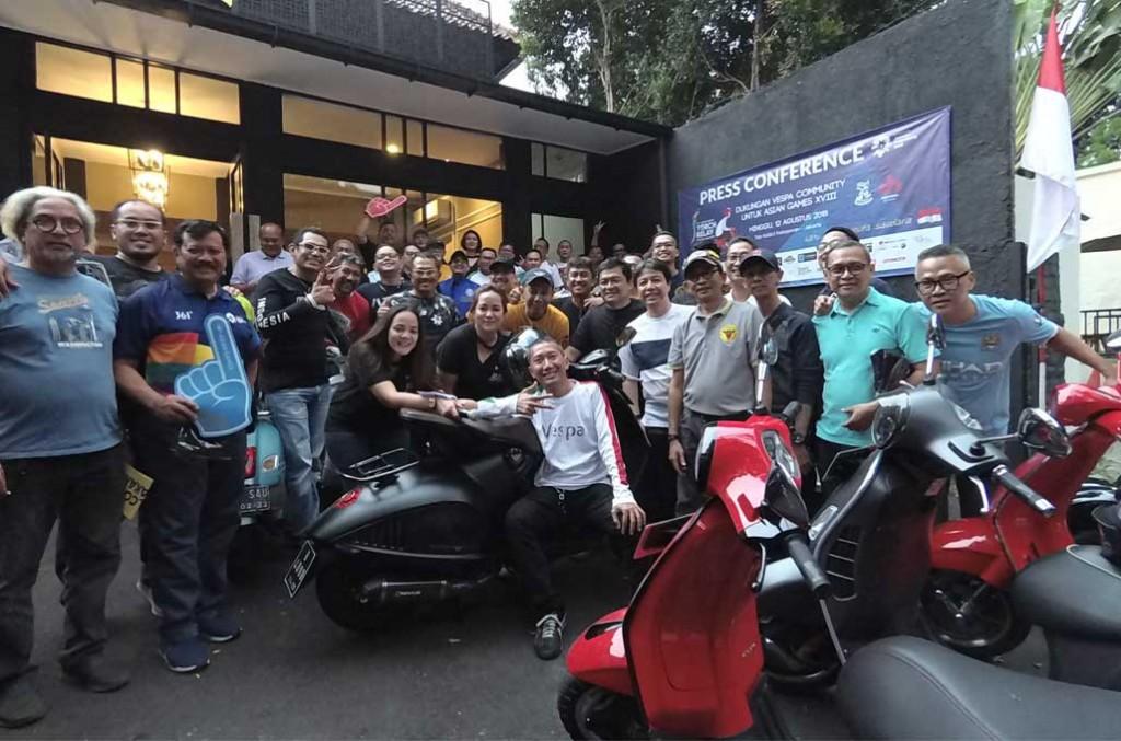 Komunitas Vespa bakal kawal kirab obor Asian Games 2018 di Jakarta. medcom.id/Ahmad Garuda