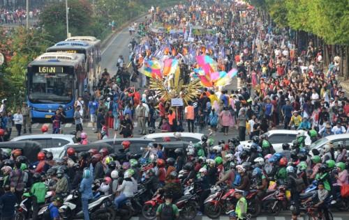 Parade jelang H-100 Asian Games 2018 (Foto: MI/Mohamad Irfan)