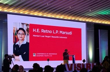 Menlu Retno di Hotel Grand Sahid Jaya, Jakarta, Senin 13 Agustus