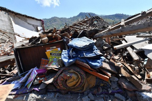 The aftermarth of magnitude 7.0 earthquake in Lombok (Photo:AFP)