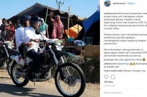 TGB Tinjau Korban Gempa Lombok Pakai Kawasaki KLX 250