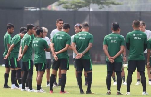 Timnas Indonesia U-23 sedang berlatih. (Foto: medcom.id/Rendy