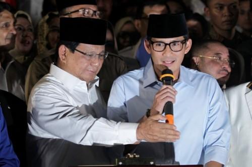 Presidential candidate pair Prabowo Subianto-Sandiaga Uno