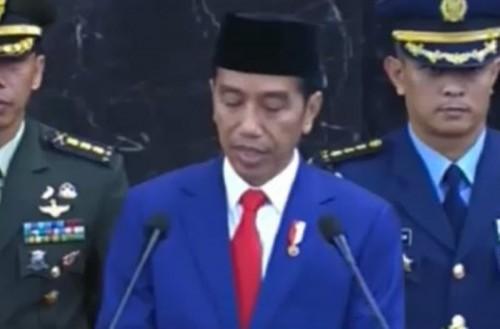 Presiden Joko widodo saat membacakan pidato dalam sidang tahunan