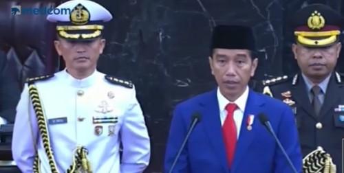 Presiden Joko Widodo saat membacakan pidato kenegaraan di Gedung