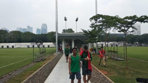 Timnas U-23 usai menjalani latihan (Foto: Rendy Renuki/Medcom.id)