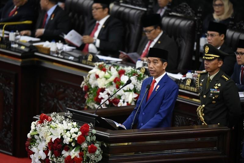 Presiden Jokowi saat Pidato Kenegaraan di DPR. ANT/Hafidz Mubarak.