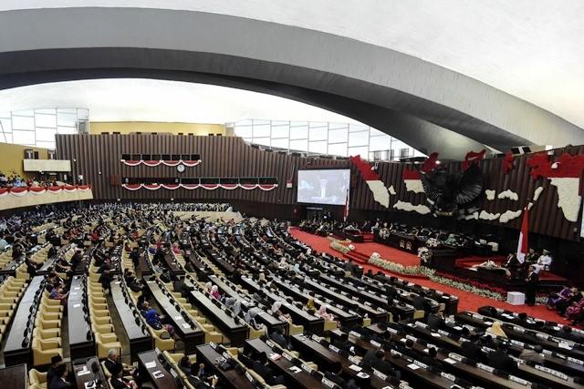 Suasana penyampaian pidato keneragaan HUT ke-73 oleh Presiden Joko Widodo dalam Sidang Bersama DPR-DPD RI di Gedung Nusantara, Kompleks Parlemen, Senayan, Jakarta, Kamis (16/8/2018). Antara Foto/Hafidz Mubarak