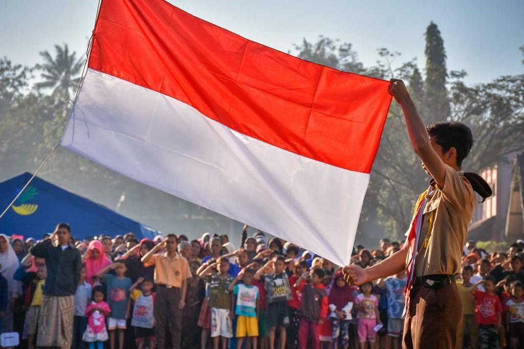 Korban Gempa Lombok Gelar Upacara HUT RI