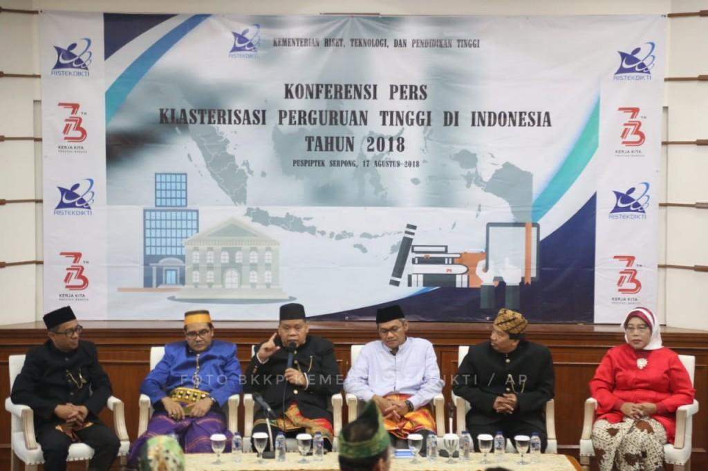 Konferensi Pers Klasterisasi Perguruan Tinggi di Indonesia 2018, dokumentasi Humas Kemenristekdikti.