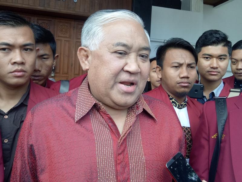 Mantan Ketua Umum Pengurus Pusat Muhammadiyah, Din Syamsuddin saat di Malang, Jumat 3 Agustus 2018. Medcom.id/Daviq Umar Al Faruq