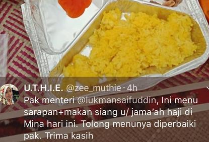 Seorang warganet mengadu tentang menu makanan yang diterima