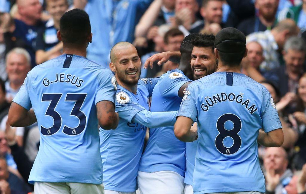 Manchester City sukses meraih kemenangan atas Huddersfield Town dengan skor telak 6-1 (Foto: AFP/Lindsey Parnaby)