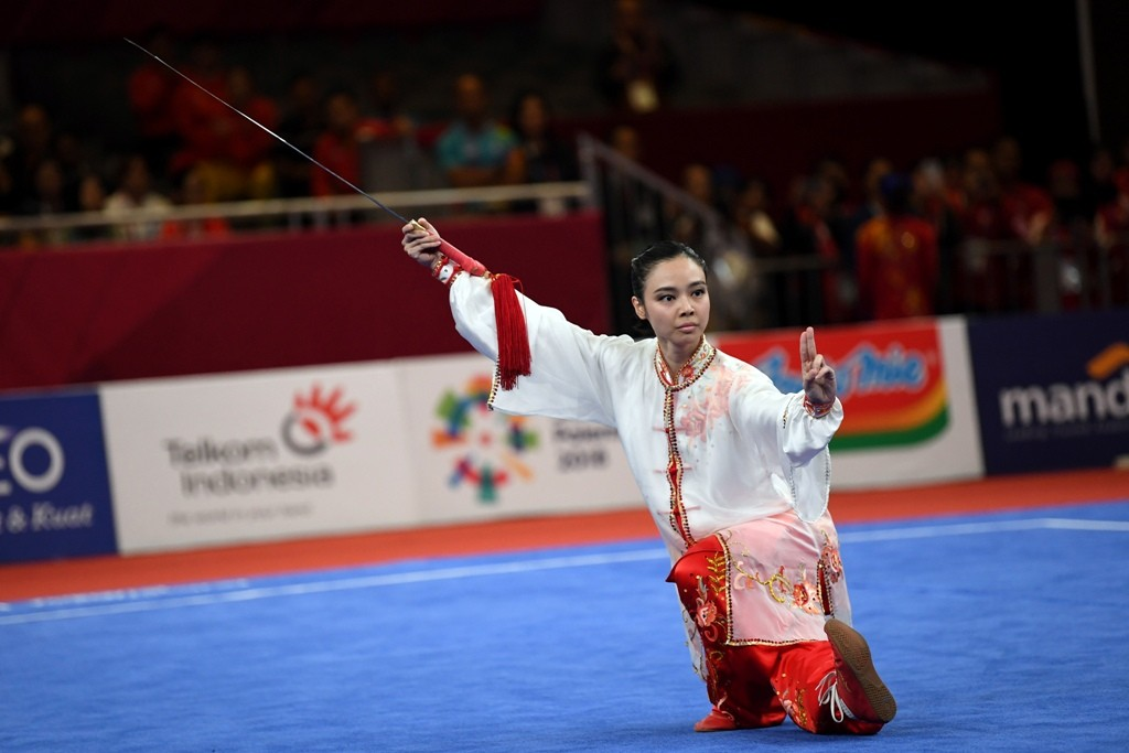 Aksi Lindswell saat tampil di cabor Wushu Asian Games 2018 (Foto: ANTARA FOTO/INASGOC/Ismar Patrizki)