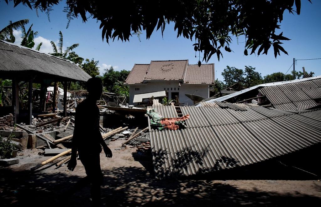 Kerusakan akibat gempa di Lombok - AFP/STR.