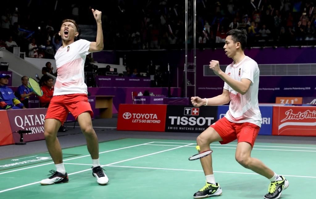 Fajar Alfian/Muhammad Rian Ardianto sukses membawa Indonesia ke final cabor bulu tangkis nomor beregu putra Asian Games 2018 (Foto: INASGOC/Antara/Nafielah Mahmudah)