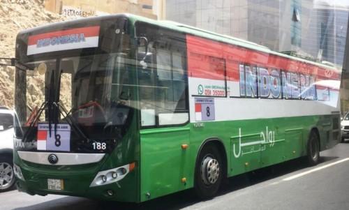 Bus Salawat yang mengantarkan jemaah haji Indonesia dari hotel