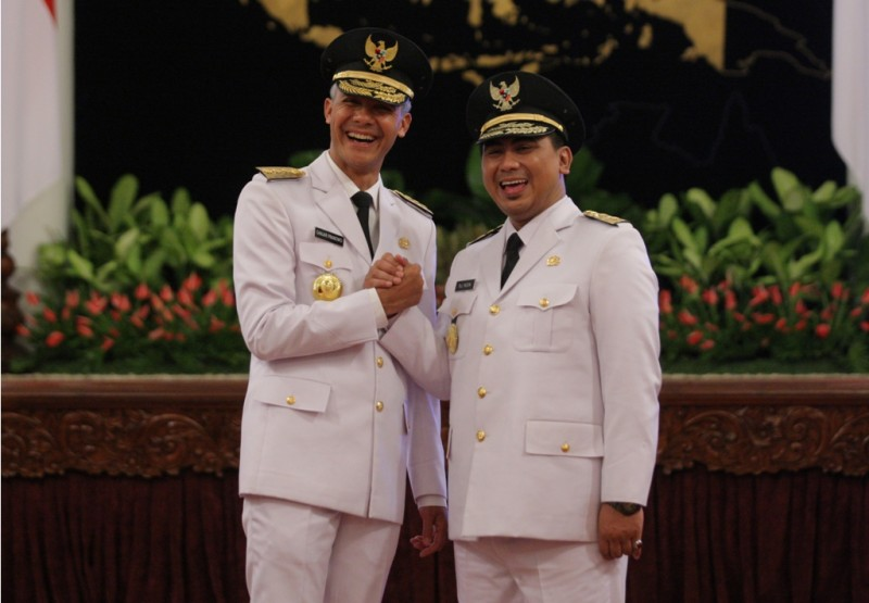 Gubernur dan wakil gubernur Jawa Tengah, Ganjar Pranowo- Taj Yasin seusai pelantikan di Istana Negara. MI