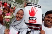 Aksi menolak isu SARA di Pilkada DKI Jakarta, Minggu, 10 September 2016. (MI)