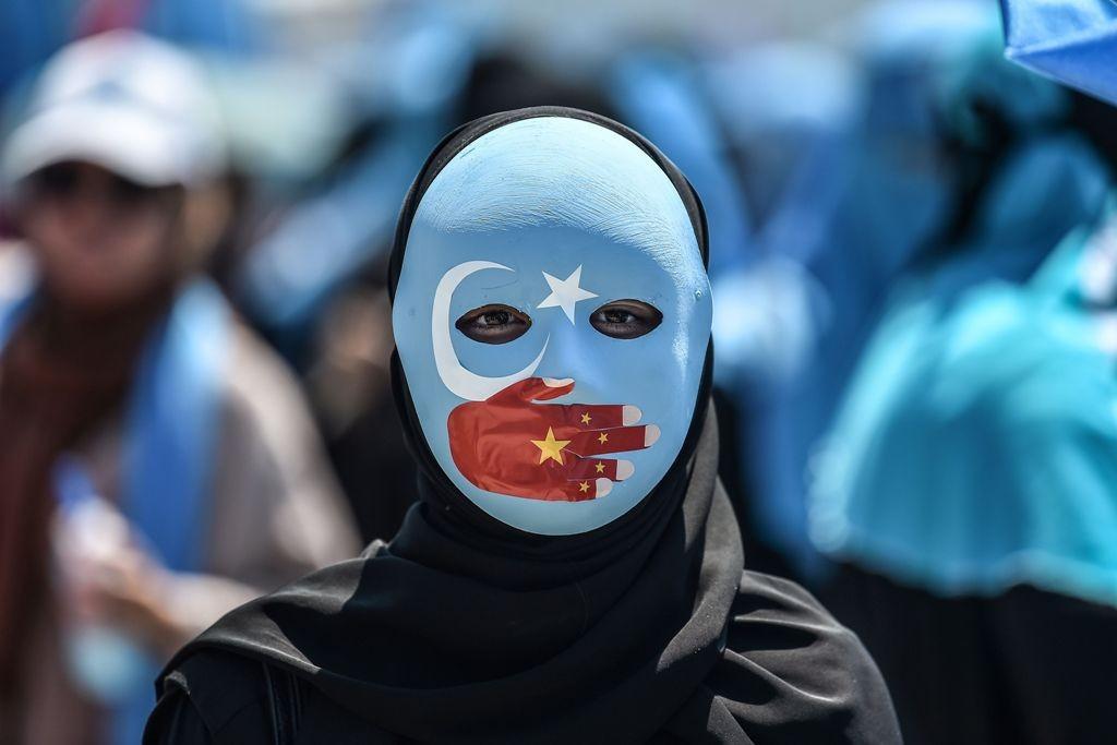 Demo Muslim Uighur di Turki terkait penahanan massal yang dilakukan Tiongkok. (Foto: AFP)