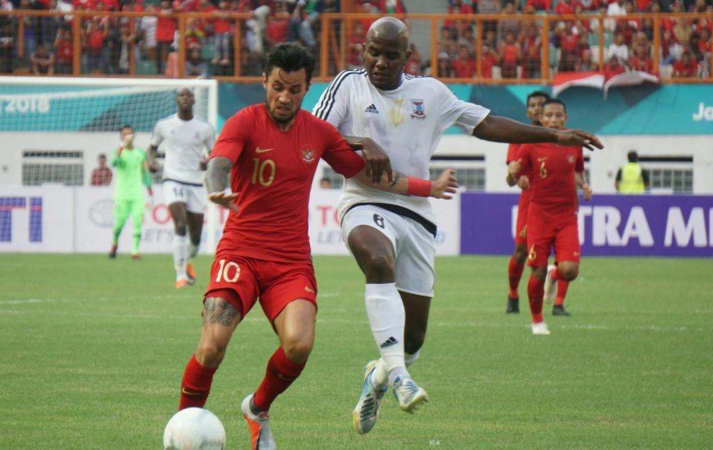 Stefano Lilipaly turun sebagai starter saat Indonesia kontra Mauritius (Foto: Medcom.id/Kautsar Halim)