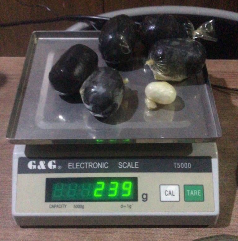 Barang bukti sabu-sabu seberat 239 gram yang disita dari pelaku Shahdan, WN Malaysia