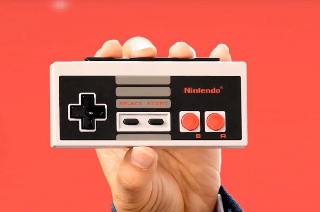 Kontroler Nintendo Switch dengan desain seperti kontroler NES.