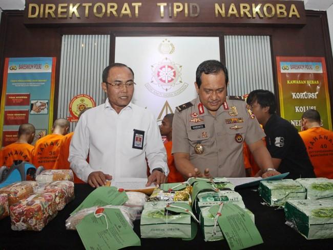Direktur Tindak Pidana Narkoba Brigadir Jendral Polisi Eko Daniyanto (kiri)-- MI/Galih Pradipta.
