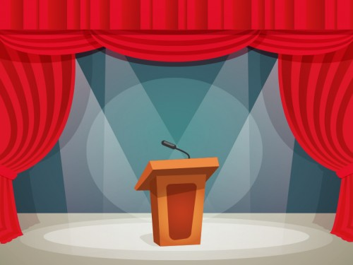ILUSTRASI: Panggung debat kandidat/M. Rizal/Medcom.id