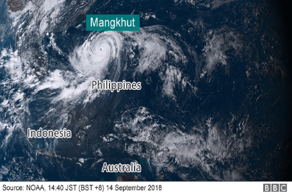 Foto dari NOAA memperlihatkan Topan Super Mangkhut di dekat Filipina pada 14 September 2018. (Foto: NOAA)